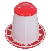 Stockshop Wolseley Plastic Poultry Feeder 280 x 345mm Red & White 6kg