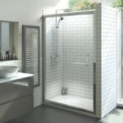 Moretti Sliding Rectangular Sliding Shower Door Polished Silver Profile 1200mm