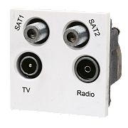 LAP TV, FM & 2 Satellite Quadruplex Grid Module White