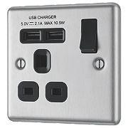 LAP 13A 1-Gang SP Switched Socket & 2-Gang USB Charger Port Brushed Steel