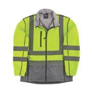 Hyena Hi-Vis 2-Tone Soft Shell Jacket Yellow/Grey Large 49