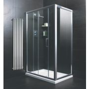 Moretti Sliding Door Shower Enclosure with Tray & Waste Silver 1200mm
