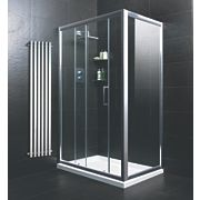 Moretti Sliding Door Shower Enclosure with Tray & Waste Polished Silver Profile 1200mm