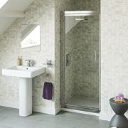 Swirl Pivot Shower Door Silver 900mm