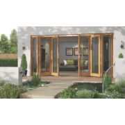 Jeld-Wen Canberra Slide & Fold Patio Door Set Golden Oak 4794 x 2094mm