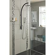 Bristan Prism Exposed Thermostatic Inline Pole Mixer Shower Black/Chrome