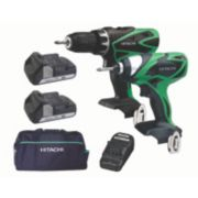 Hitachi KC18DFLW/JA 18V 1.5Ah Li-Ion Twin Pack Combi Drill & Impact Driver