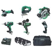 Hitachi KTL618SJ/JW 18V 4Ah Li-Ion Cordless 6-Piece Kit