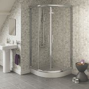 Swirl Quadrant Shower Enclosure Sliding Door Silver 800mm