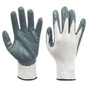 Nitrile-Coated Palm Gloves White Medium