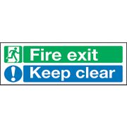 """Fire Exit Keep Clear"" Signs 150 x 450mm Pack of 50"