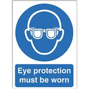 """Eye Protection Must Be Worn"" Sign 210 x 148mm"