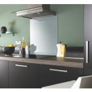 Silver Metallic Self-Adhesive Toughened Glass Splashback 750 x 600 x 6mm