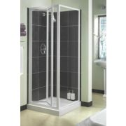 Aqualux Shower Bi-Fold Door Square White 760 x 1850mm