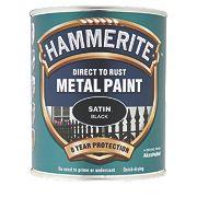 Hammerite Satin Metal Paint Black 750ml