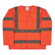 "Hi-Vis Sleeved Waistcoat Orange Large / X Large 52"" Chest"