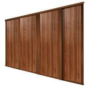Spacepro 4 Door Panel Sliding Wardrobe Doors Walnut 2998 x 2260mm 4 Pack