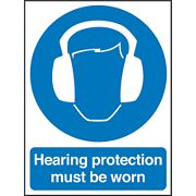 """Hearing Protection Must Be Worn"" Sign 200 x 150mm"