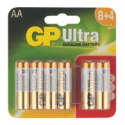 GP Ultra Alkaline Batteries AA Pack of 12