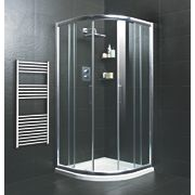 Moretti Quadrant Shower Enclosure w/ Tray & Waste Double Sliding Door Silver 800mm