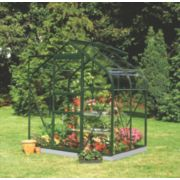 Halls Supreme 46 Aluminium Greenhouse Green Toughened Glass 6' 3 x 4' 3 x