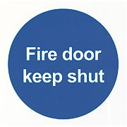 "Glow-In-The-Dark ""Fire Door Keep Shut"" Sign 100 x 100mm"