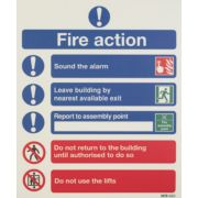 Nite Glo 'Fire Action Notice' Sign 350 x 250mm