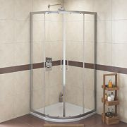 Swirl Quadrant Shower Enclosure Double Sliding Door Silver 800mm