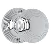 Jedo Ribbed Mortice Knob Pair Polished Chrome 53mm