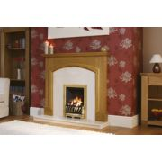 "Be Modern Hampton 51"" Fire Surround, Back Panel, Hearth & Slimline Gas Fire Pearl Stone Micro Marble"