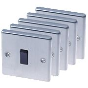 LAP 1-Gang 2-Way 10AX Light Switch Stainless Steel Pack of 5