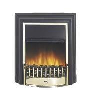 Dimplex Cheriton Traditional Freestanding Electric Fire Black/Brass Eff 2kW