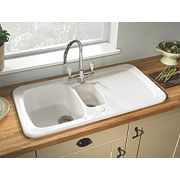 Astracast Aquitaine Ceramic 1½-Bowl Square Inset Sink w/Reversible Drainer