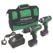 Hitachi KC10DFL 10.8V 1.5Ah Li-Ion Cordless Twin Pack Drill & Impact Driver