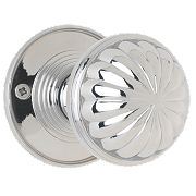 Jedo Fluted Door Knob Pair Polished Chrome 65mm Pack of 2