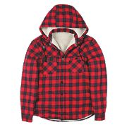 "Site Cedar Borg-Lined Hoodie Red Check X Large 45-47"" Chest"