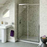 Swirl Square Sliding Shower Door Silver 1200mm