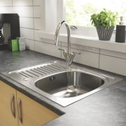 Pyramis Aurora Kitchen Sink S/Steel 1 Bowl & Reversible Drainer 620 x 500mm
