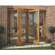 Jeld-Wen Slide & Fold Patio Door Set Oak Veneer 2394 x 2094mm