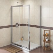 Swirl Rectangular Shower Enclosure Polished Silver 1200mm