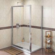 Swirl Rectangular Shower Enclosure Polished Silver 1200mm