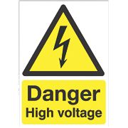 "Electrical Safety ""Danger High Voltage"" Sign 210 x 148mm"
