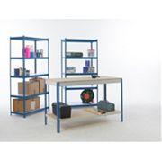 Workshop Workbench & 2-Bay Shelving Starter Kit Blue & White x x mm