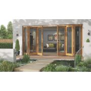 Jeld-Wen Canberra Slide & Fold Patio Door Set Golden Oak 4194 x 2094mm