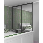 2 Door Wardrobe Doors Black Frame Mirror Panel 1480 x 2330mm