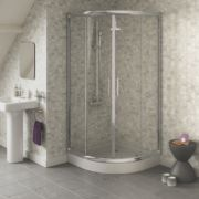 Swirl Quadrant Shower Enclosure Sliding Door Silver 900mm