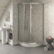 Swirl Quadrant Shower Enclosure Sliding Door Chrome-Effect 900mm