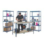 Workshop Workbench & 3-Bay Shelving Starter Kit Blue & White x 450 x mm