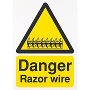 """Danger Razor Wire"" Sign 400 x 300mm"