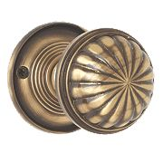 Jedo Fluted Mortice Door Knob Pack Antique Bronze 65mm Pack of 2
